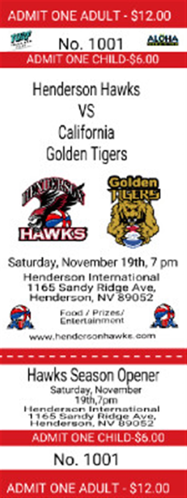 Get Information and buy tickets to Season Opener Henderson Hawks (VS) CA Golden Tigers on Henderson Hawks