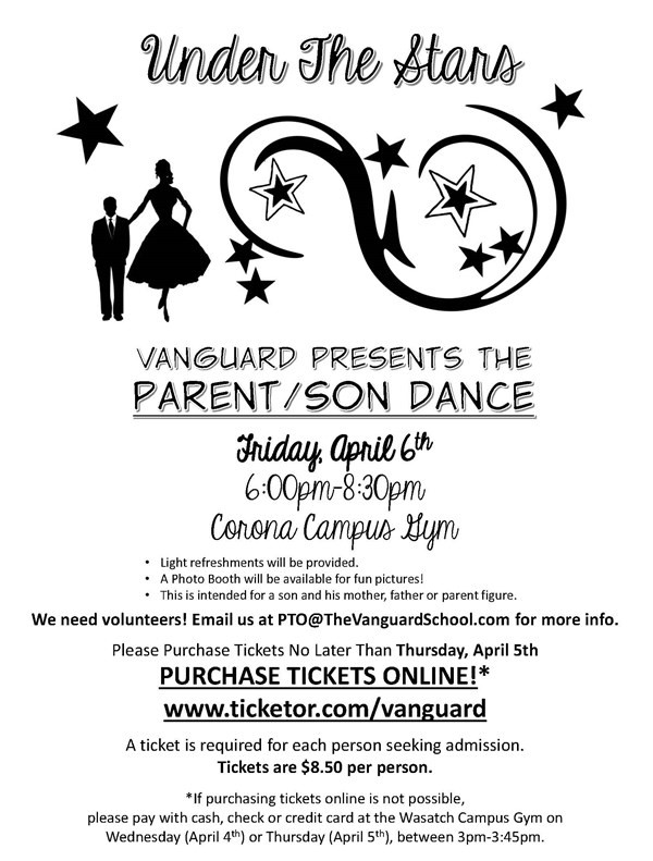 Get Information and buy tickets to K-6 Vanguard Parent/Son Dance  on www.TheVanguardSchool.com