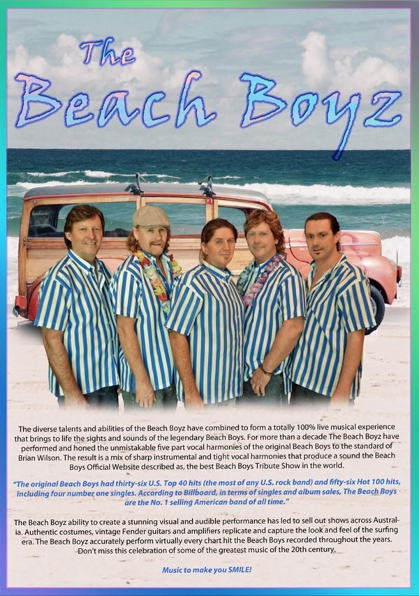 Get Information and buy tickets to The Beach Boyz The Original Live Show. Amazing Songs, Amazing Harmonies. on Gympie Box Office