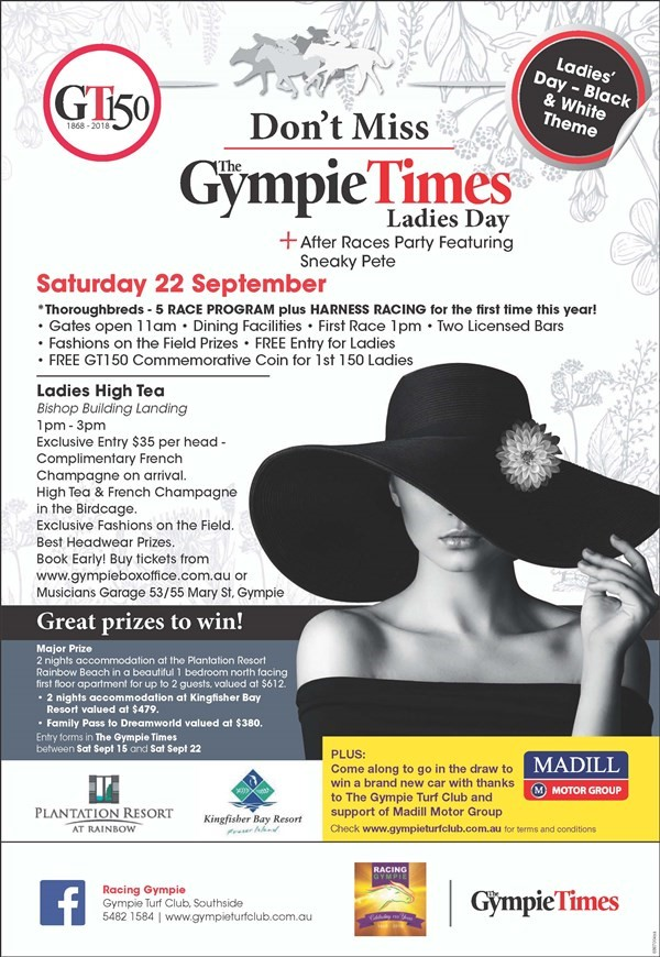 Get Information and buy tickets to Ladies High Tea The Gympie Times Black & White Ladies Day on Gympie Box Office