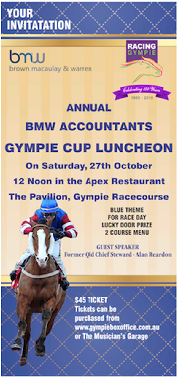 Get Information and buy tickets to Annual BMW Accountants Our famous 100 Club Cup Day and Luncheon on Gympie Box Office