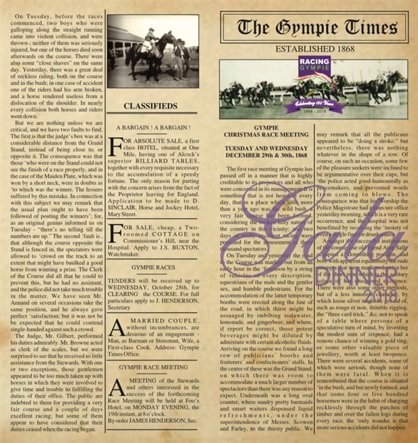 Get Information and buy tickets to Gala Dinner celebrating 150 years of racing in Gympie Guests speakers Tony Gollan, Peter Tighe and Chris Munce on Gympie Box Office