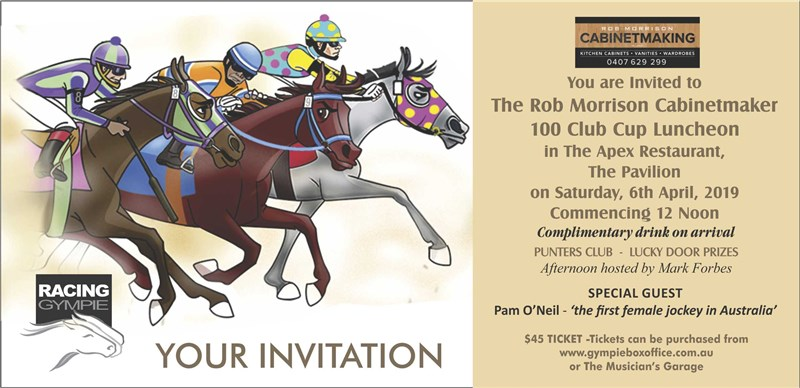 Get Information and buy tickets to THE ROB MORRISON CABINETMAKER 100 CLUB CUP LUNCHEON 100 Club Cup Day and Luncheon on Gympie Box Office