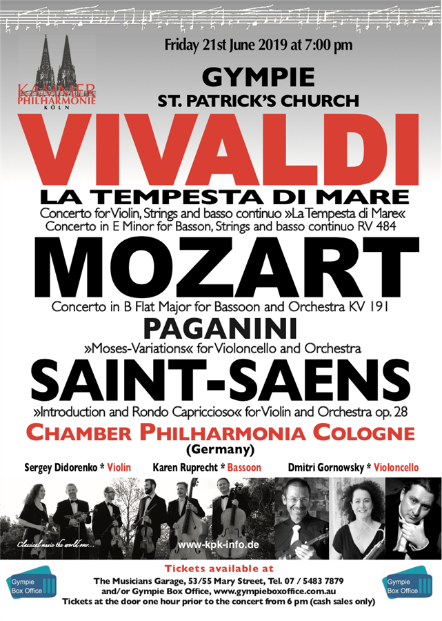 Get Information and buy tickets to Vivaldi, Mozart, Saint-Saens Chamber Philharmonia Cologne, classics from Germany. on Gympie Box Office