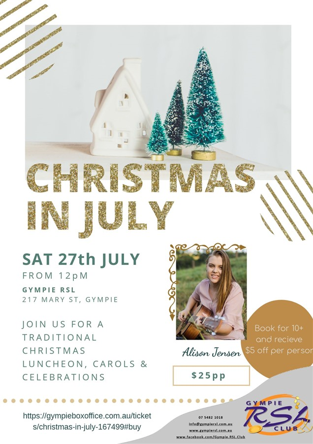 Get Information and buy tickets to Christmas In July  on Gympie Box Office