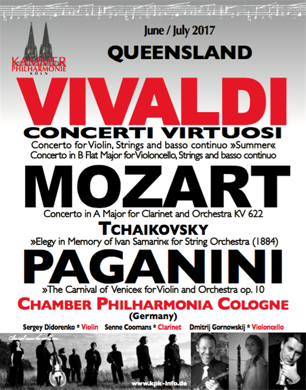 Get Information and buy tickets to Vivaldi, Bach, Paganini Chamber Philharmonia Cologne, classics from Germany. on Gympie Box Office