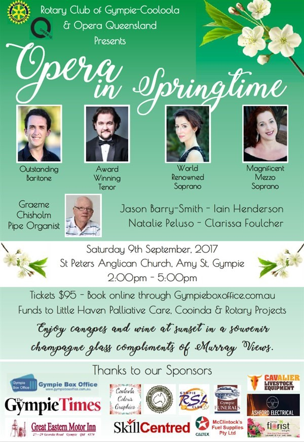 Get Information and buy tickets to Opera in Springtime Rotary Club of Gympie-Cooloola and Opera Queensland on Gympie Box Office