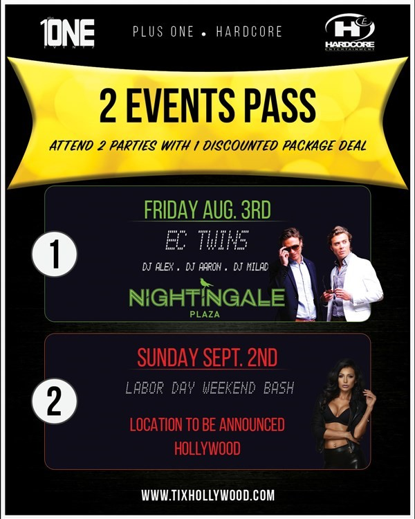 Get Information and buy tickets to PACKAGE DEAL: Nightingale 8/3 & Lure 9/2 1 Ticket 2 Events on HARDCORE & PLUS ONE