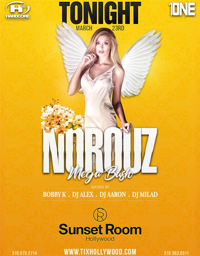 Get Information and buy tickets to Norouz Mega Bash @ SUNSET ROOM (Formerly LURE) Saturday, March 23, 2019 on HARDCORE & PLUS ONE