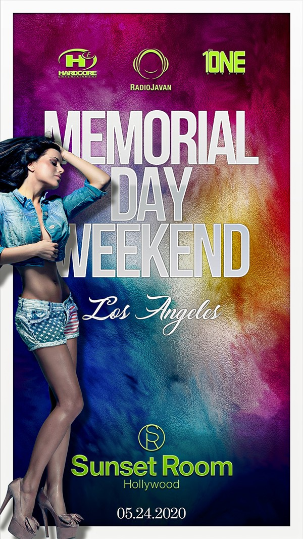 Get Information and buy tickets to Memorial Day Weekend Party @ SUNSET ROOM Sunday, May 24th, 2020 on HARDCORE & PLUS ONE