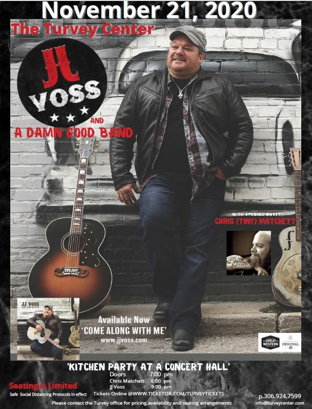 JJ VOSS SPECIAL GUEST CHRIS MATCHETT (TINY) on Jan 30, 19:00@The Turvey Convention Center and Lounge - Pick a seat, Buy tickets and Get information on Turvey Convention Center