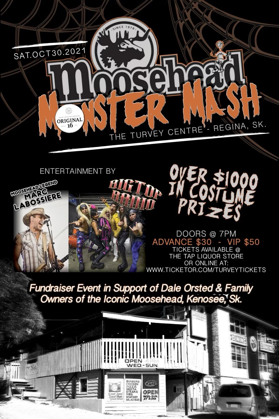 MOOSEHEAD MONSTER BASH MARC LABOSSIERE & BIG TOP RADIO on Oct 30, 19:00@TURVEY C - Buy tickets and Get information on Turvey Convention Center