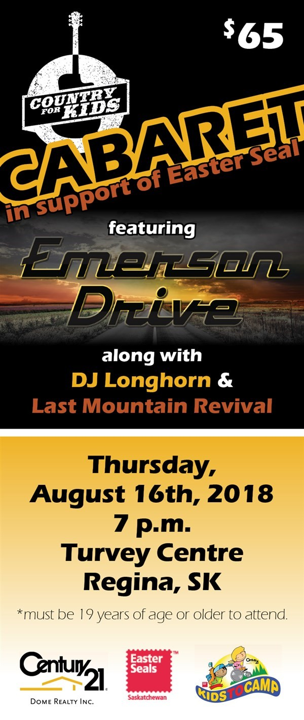 Get Information and buy tickets to Emerson Drive Cabaret Country for Kids support of Easter Seals on Turvey Convention Center