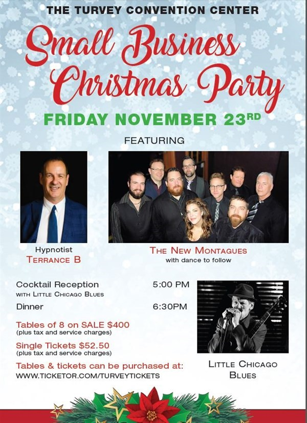 Get Information and buy tickets to Small Business Christmas Party Single Tickets on Turvey Convention Center