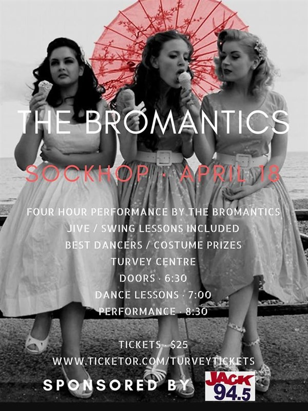Get Information and buy tickets to THE BROMANTICS SOCKHOP and dance lessons    6:30 lessons on Turvey Convention Center