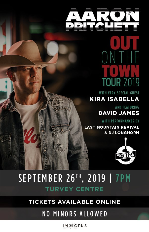 Get Information and buy tickets to Country for Kids Cabaret with Aaron Pritchett Kira Isabella, David James,& Last Mountain Revival on Turvey Convention Center