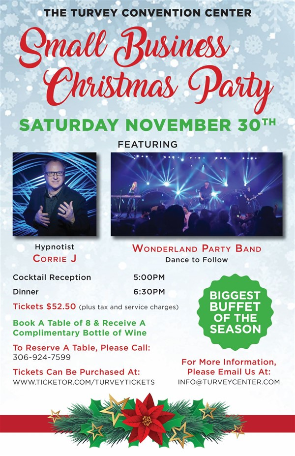 Get Information and buy tickets to Small Business Christmas Party Hypnotist Corrie J & Wonderland on Turvey Convention Center