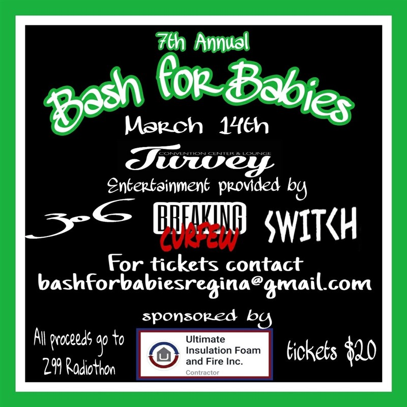 Get Information and buy tickets to Bash For Babies 3 bands 306, Breaking Curfew and Switch on Turvey Convention Center