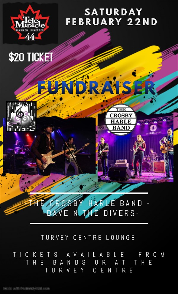 Get Information and buy tickets to Crosby Harle Band & Dave and the Divers Fundraiser for TeleMiracle on Turvey Convention Center