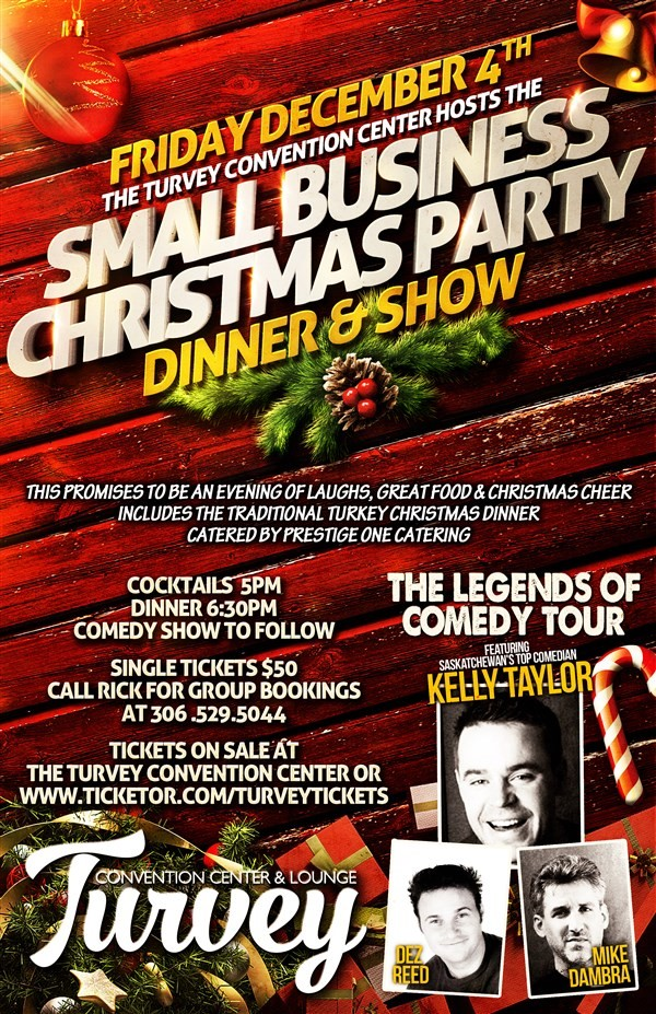 Get Information and buy tickets to Small Business Christmas Party  SOLD OUT Legends of Comedy Tour on Turvey Convention Center