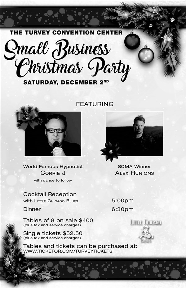 Get Information and buy tickets to Small Busniess Christmas Party Single tickets-SOLD OUT Single Tickets on Turvey Convention Center