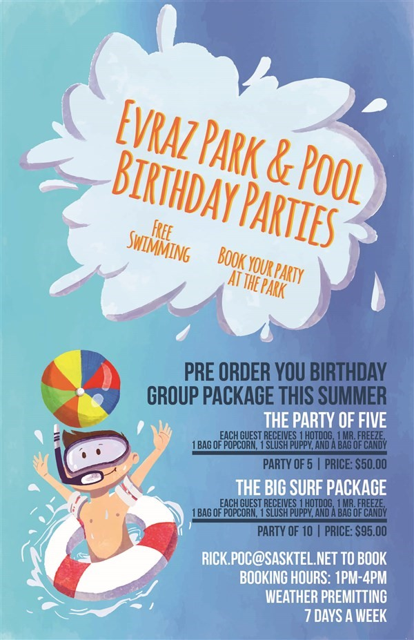Get Information and buy tickets to Evraz Park & Pool Birthday Packages Party in the Park on Turvey Convention Center