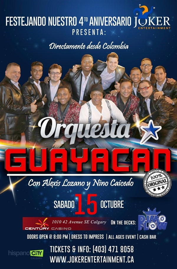 Get Information and buy tickets to GUAYACAN ORQUESTA EN CALGARY  on www.jokerentertainment.ca