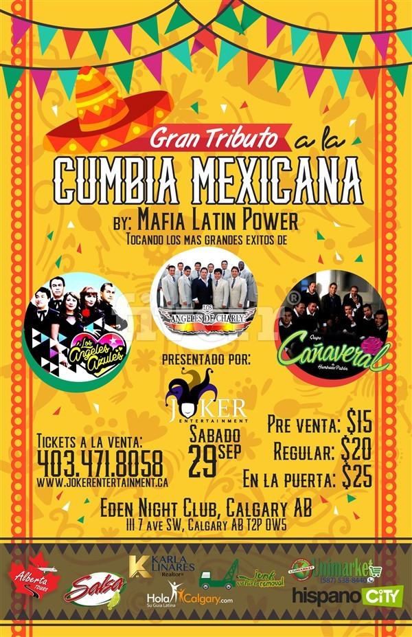 Get Information and buy tickets to Tributo a la Cumbia Mexicana en Calgary By Mafia Latin Power on www.jokerentertainment.ca