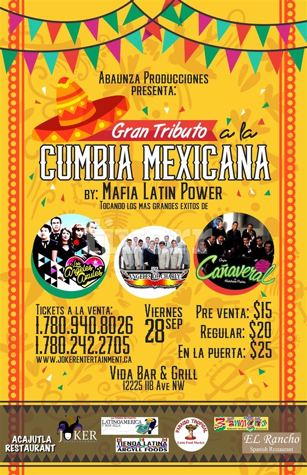 Get Information and buy tickets to Tributo a la Cumbia Mexicana Edmonton By Mafia Latin Power on www.jokerentertainment.ca