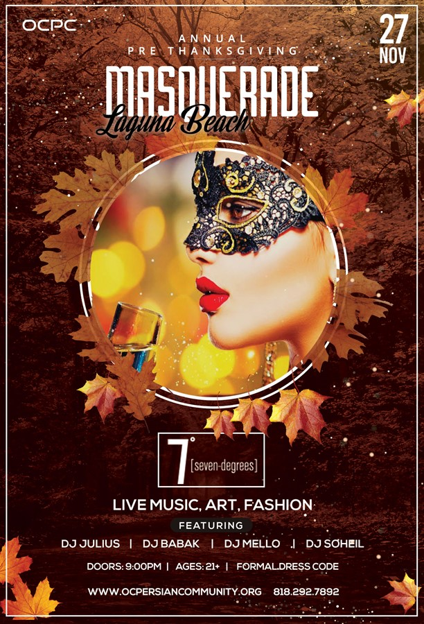Get Information and buy tickets to 2019 Annual Pre-Thanksgiving Masquerade Party @ Laguna Beach  on Irani Ticket