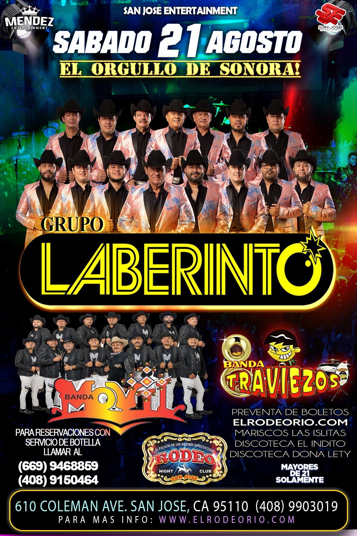Grupo Laberinto y Banda Movil  on Aug 21, 21:00@Club Rodeo - Buy tickets and Get information on elrodeorio.com sanjoseentertainment