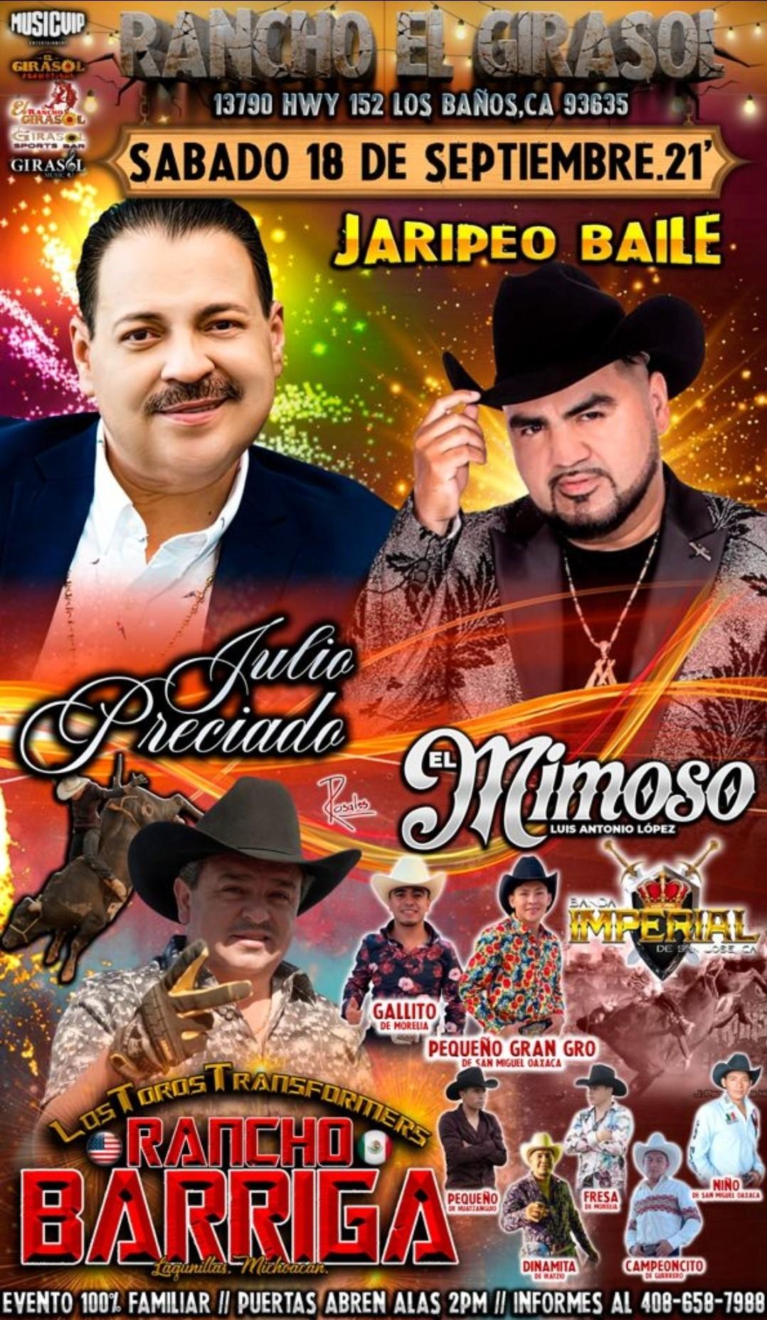 Julio Preciado y El Mimoso  on Sep 18, 14:00@Rancho El Girasol - Buy tickets and Get information on elrodeorio.com sanjoseentertainment