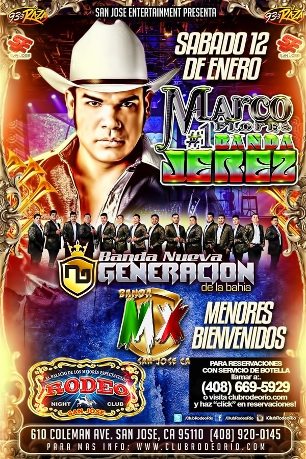 Get Information and buy tickets to Marco Flores y La #1 Banda Jerez Sabado 12 de Enero  on clubrodeorio.com