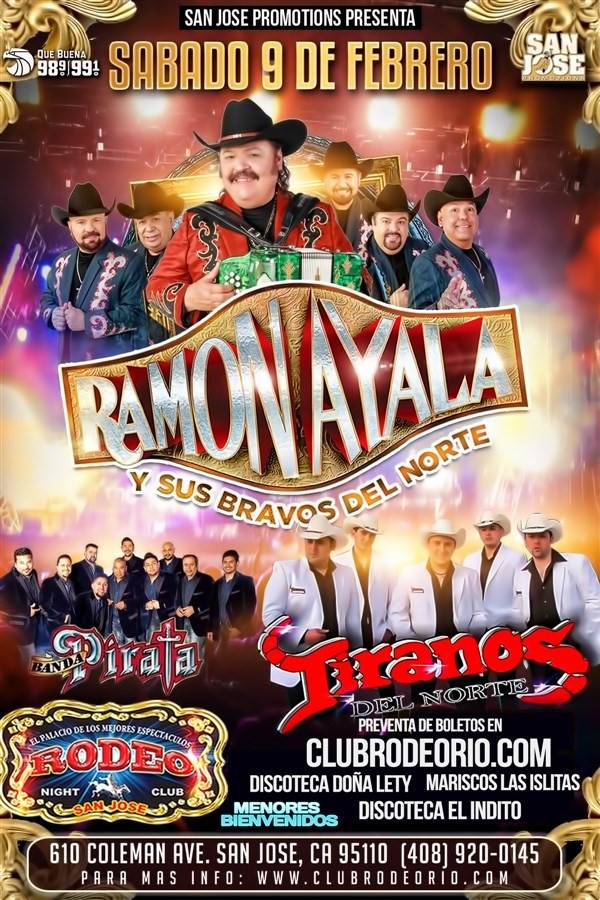 Get Information and buy tickets to Ramon Ayala y sus Bravos del Norte Los Tiranos del Norte y Banda Pirata on clubrodeorio.com