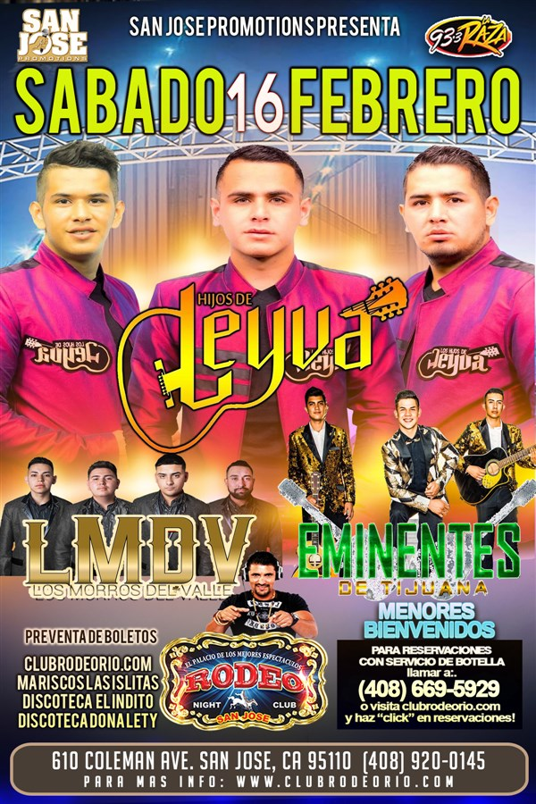 Get Information and buy tickets to Los Hijos de Leyva,LMDV y Los Eminentes de Tijuana  on clubrodeorio.com