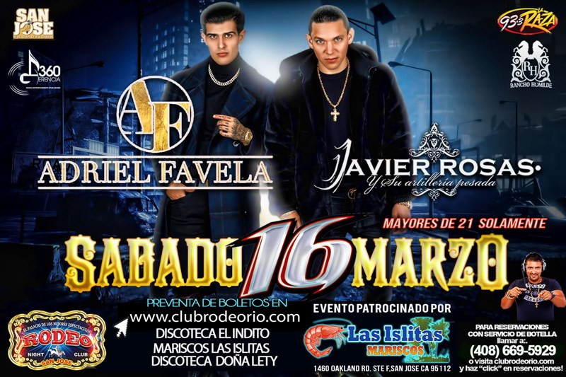 "Get Information and buy tickets to Javier Rosas y Adriel Favela Tour ""La Escuela no me gusto"" on clubrodeorio.com"