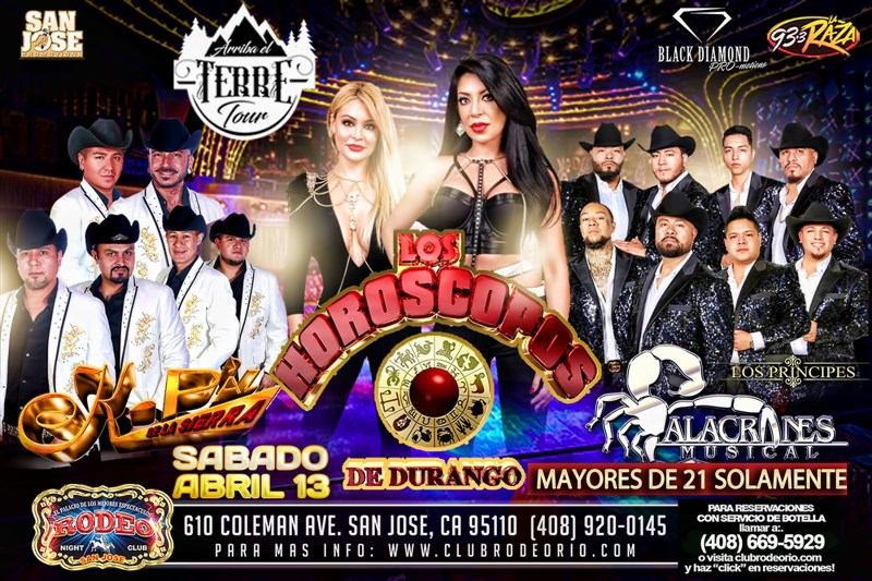 Get Information and buy tickets to Arriba El Terre Tour Horoscopos de Durango,K-Paz de La Sierra y Alacranes Musical on clubrodeorio.com