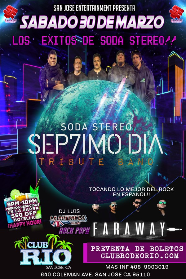 Get Information and buy tickets to Tributo a Soda Sterero Sep7imo Dia y Faraway on clubrodeorio.com