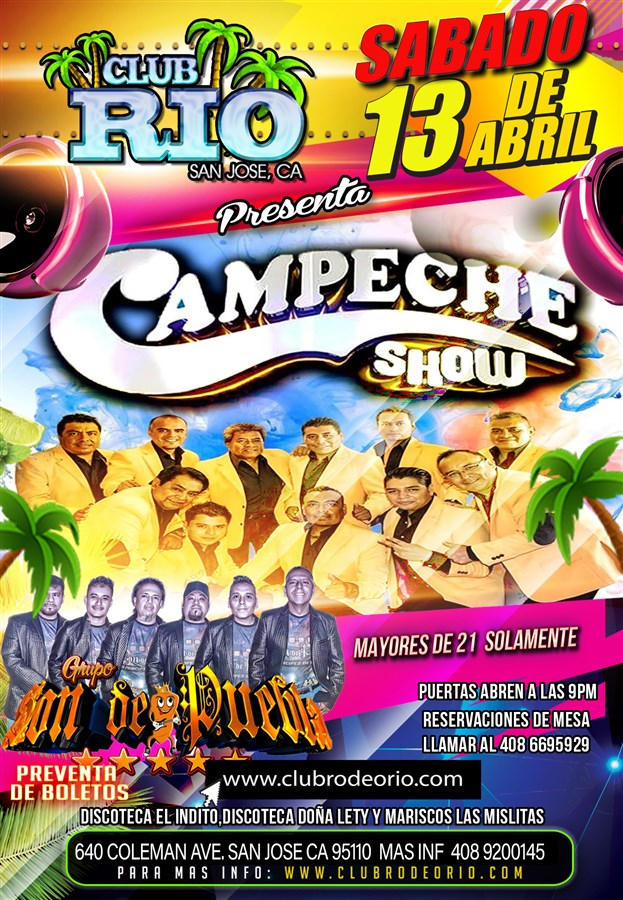 Get Information and buy tickets to Campeche Show Sabado 13 de ABril  on clubrodeorio.com