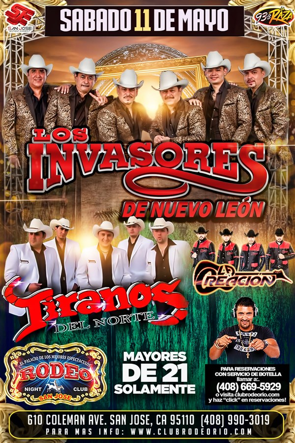 Get Information and buy tickets to Los Invasores de Nuevo Leon y Los Tiranos del Norte  on clubrodeorio.com