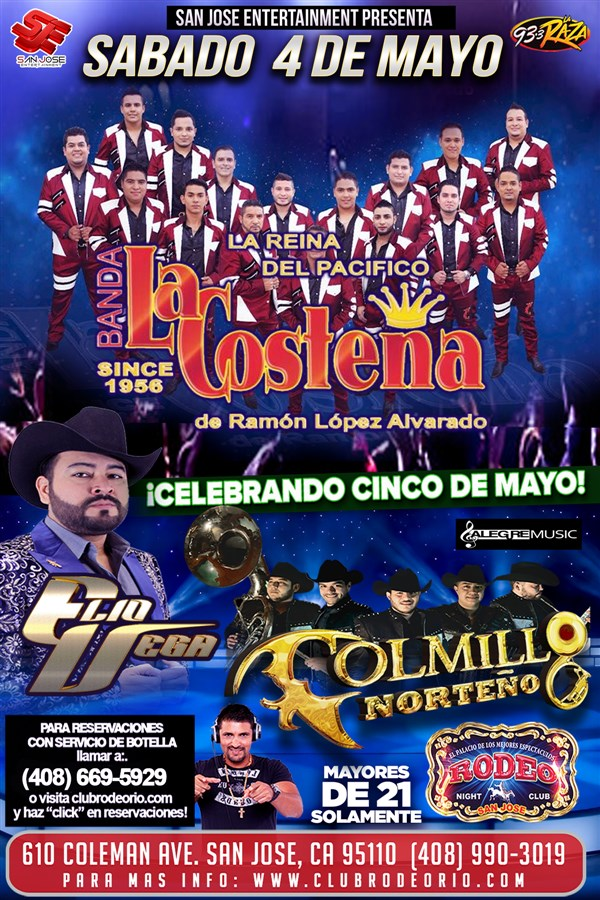 Get Information and buy tickets to Banda La Costeña,Colmillo Norteño y Elio Vega  on clubrodeorio.com
