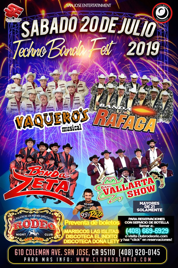 Get Information and buy tickets to TecnoBanda Fest 2019 Banda vaqueros Musical,Banda Rafaga,Banda Zeta,Vallarta Show on clubrodeorio.com