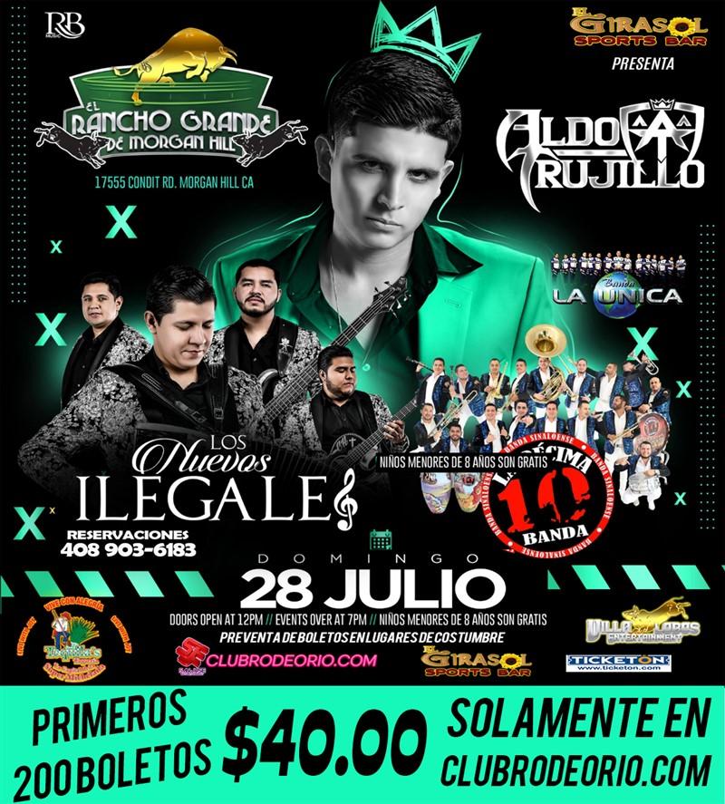 Get Information and buy tickets to Aldo Trujillo,Los Nuevos Ilegales y La Decima Banda  on clubrodeorio.com