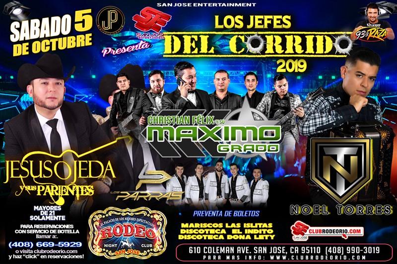 Get Information and buy tickets to Jesus Ojeda,Noel Torres,Maximo Grado y Los Parras Los Jefes del Corrifdo 2019 on clubrodeorio.com