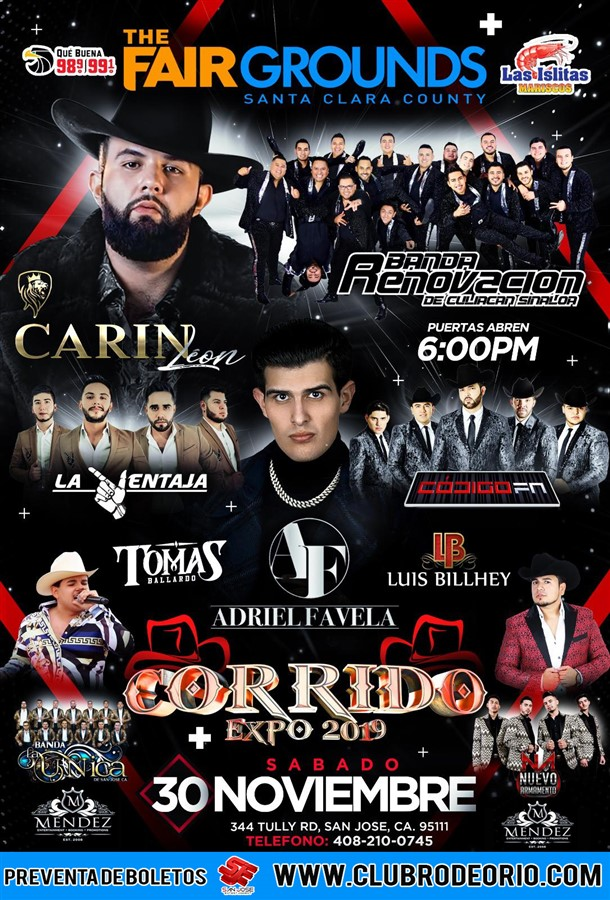 Get Information and buy tickets to Corrido Expo 2019 Carin Leon,Adriel Favela,Banda Renovacion,Tomas Ballardo on clubrodeorio.com