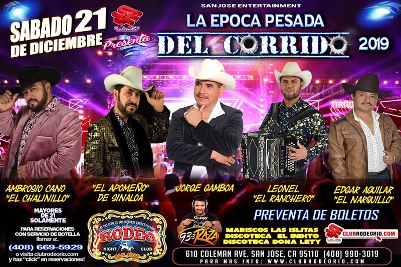 Get Information and buy tickets to Jorge Gamboa,El Narquillo,El Chalinillo El Apomeño y Leonel El Ranchero on clubrodeorio.com