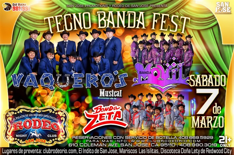 Obtener información y comprar entradas para Vaqueros Musical,Banda Movil y Banda Zeta TecnoBanda Fest 2020 en elrodeorio.com.