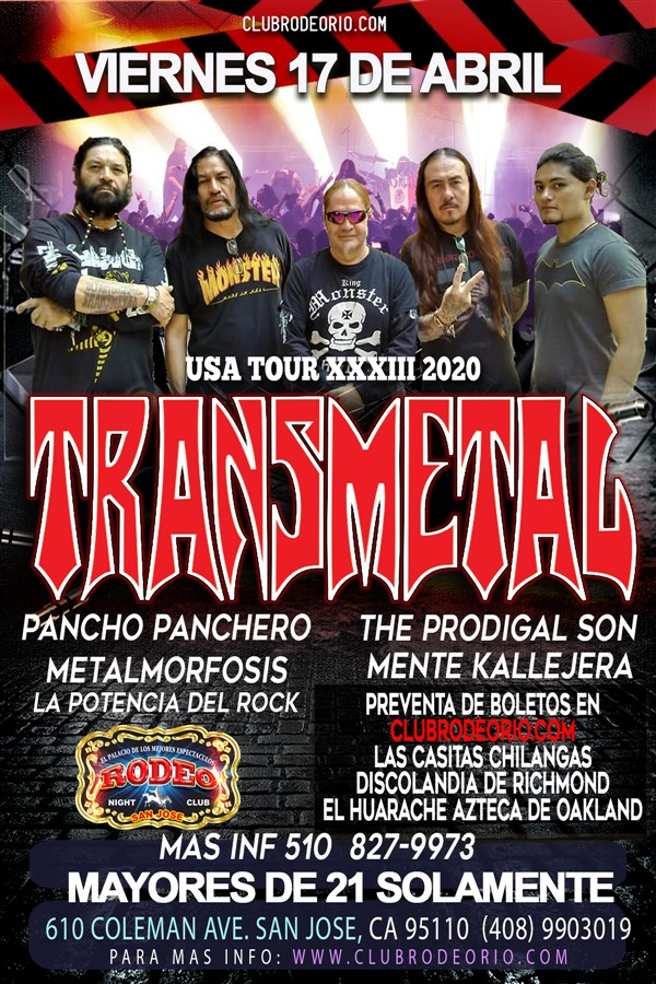 Get Information and buy tickets to Transmetal,Viernes 17 de Abril,Club Rodeo  on clubrodeorio.com