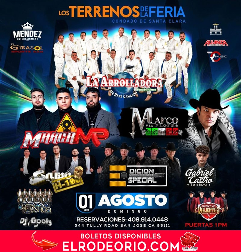 Obtener información y comprar entradas para La Arrolladora Banda El Limon,Marca MP,Marco Flores y La Jerez y mas!  en elrodeorio.com.