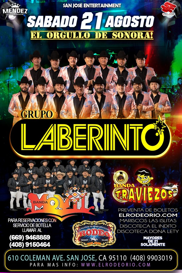 Obtener información y comprar entradas para Grupo Laberinto y Banda Movil  en elrodeorio.com.